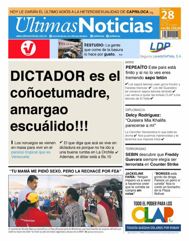 Portada honesta de ltimas noticias el chig ire bipolar for Ultimas noticias de espectaculos internacionales