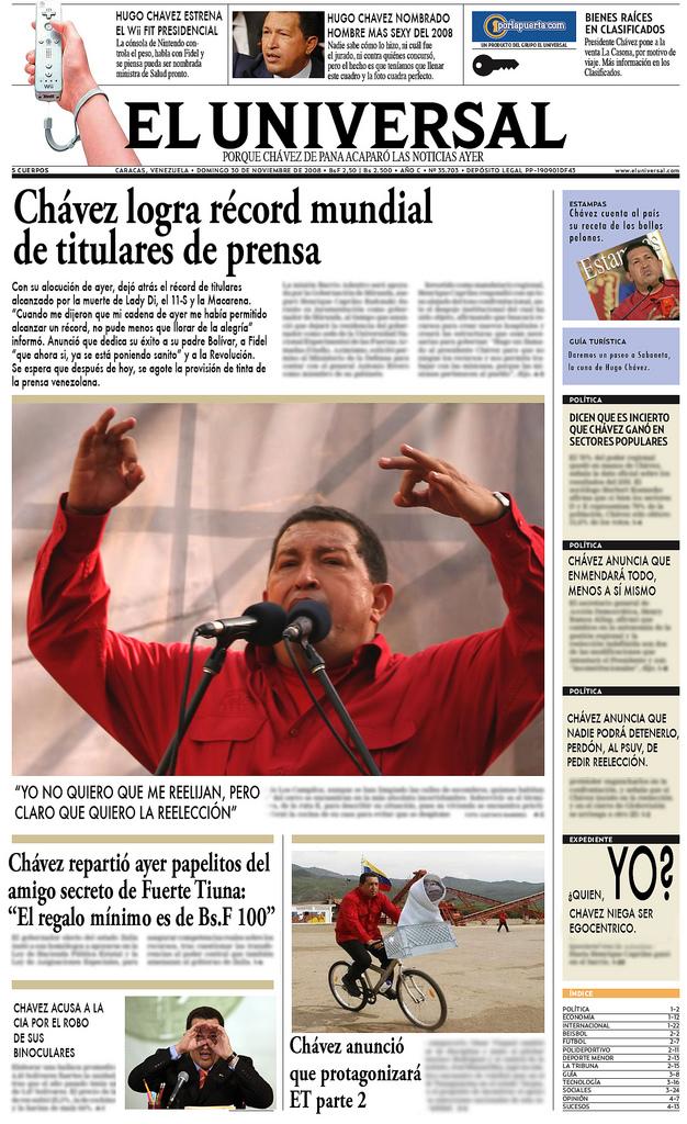 Chávez acapara el 100% de los titulares
