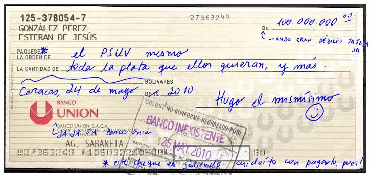 Conozca por qué rebotó el cheque de Chávez al PSUV