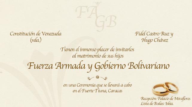 Fuerzas Armadas y Chavismo se casan en hermosa ceremonia