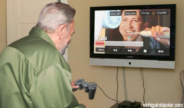 Se daña control de Fidel y por error Chávez se cepilla con crema para la irritación