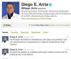 Sentido común hackea la cuenta de Twitter de Diego Arria