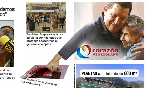 Banners de Chávez agreden a noticia de Kim Kardashian en Noticias 24