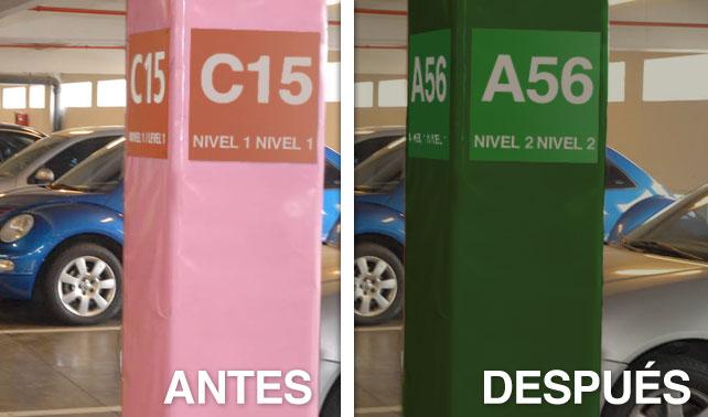 Columna de estacionamiento se cambia de color y número para joder a conductor
