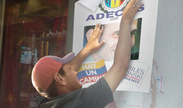 AD acusa a Capriles de retirar propaganda que lo apoya