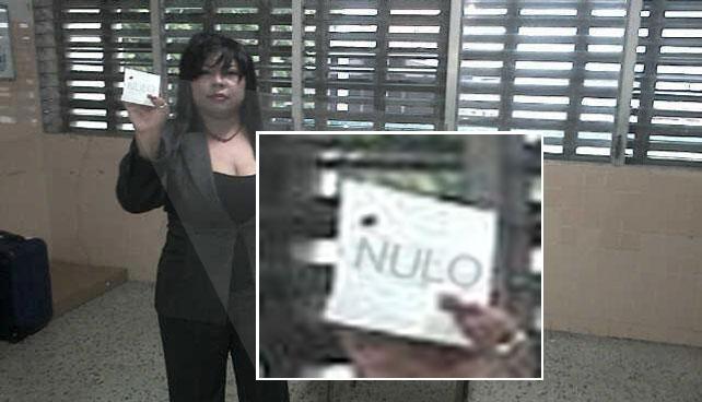 María Bolívar vota por sí misma y máquina emite comprobante nulo