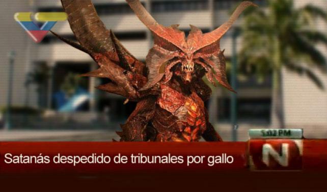 Satán hace pasantía en tribunal venezolano y es despedido por gallo