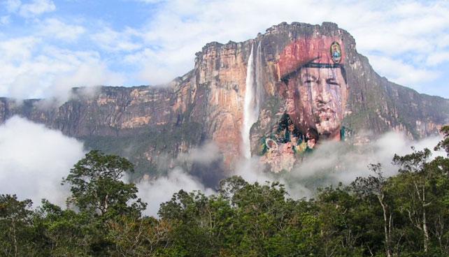 Gobierno presenta mural gigante de Chávez en el Salto Ángel