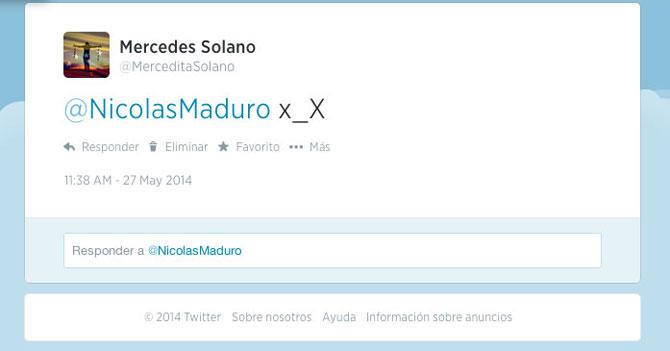 """Detienen a señora magnicida que envió tuit con carita """"x_X"""" a Maduro"""