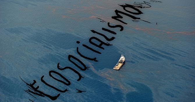 """PDVSA escribe en el mar """"Ecosocialismo"""" con manchas de petróleo"""