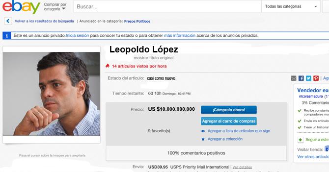 Anuncian venta de Leopoldo López por eBay