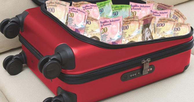 Venezolanos comienzan a usar maletas como billeteras