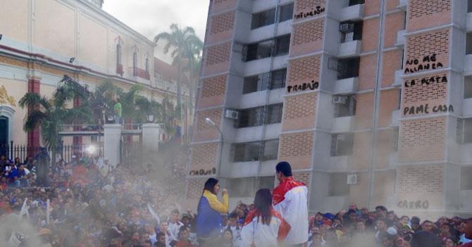 Lanzan edificio a Maduro para que arregle el país