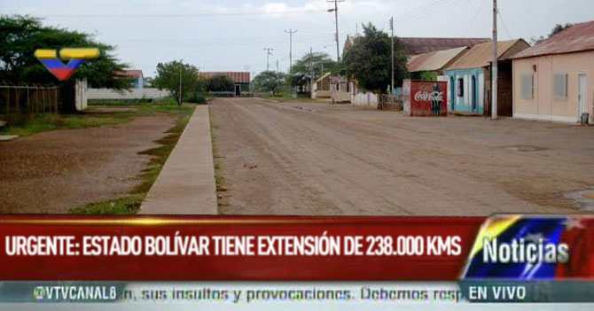 Urgente: VTV reporta que el Edo. Bolívar tiene una superficie de 238,000 km²