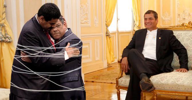 Correa amarra barriga con barriga a Santos y Maduro para que dejen la peleadera
