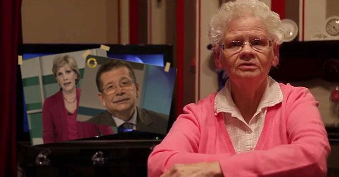 Señora que extraña Globovisión pone foto de Nitu y el Ciudadano en su TV