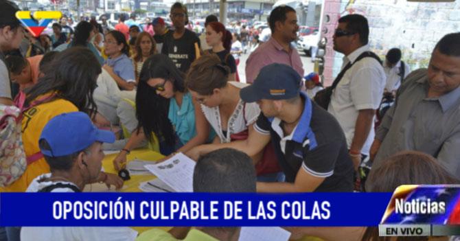 VTV: Colas para firmar demuestran que la oposición es culpable de las colas