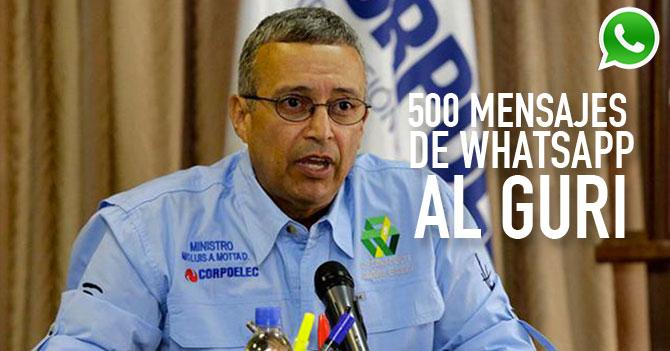 Alterado Motta Domínguez le escribe 500 mensajes de whatsapp al Guri