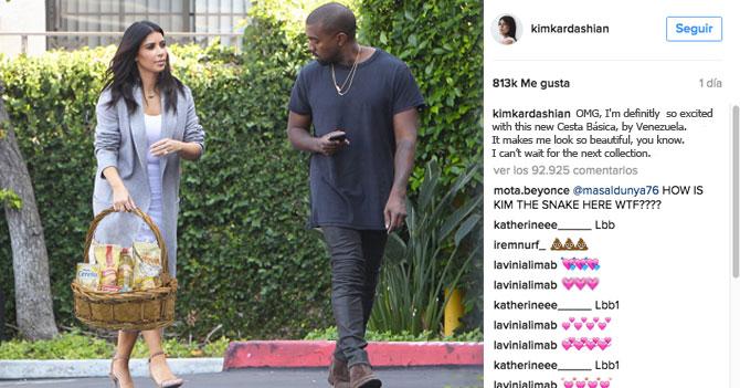 Kim Kardashian rompe Internet al mostrar lujosa canasta básica venezolana