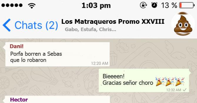 Grupo de Whatsapp agradece a malandro por robar a amigo ladilla
