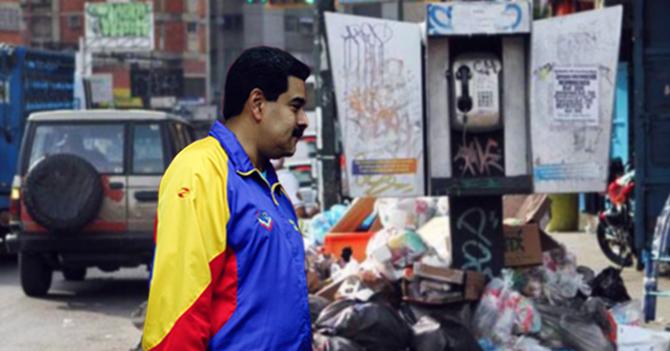 Descubren a Maduro buscando valor del Bolívar en la basura