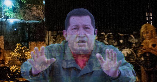 Asaltan a holograma de Chávez en centro de Caracas