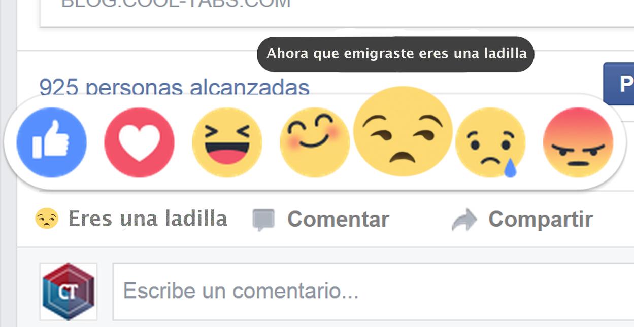 """Facebook estrena botón de """"Ahora que emigraste eres una ladilla"""""""