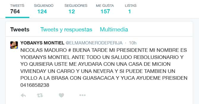 Chavista aprovecha 280 caracteres de Twitter para pedirle más cosas a Maduro