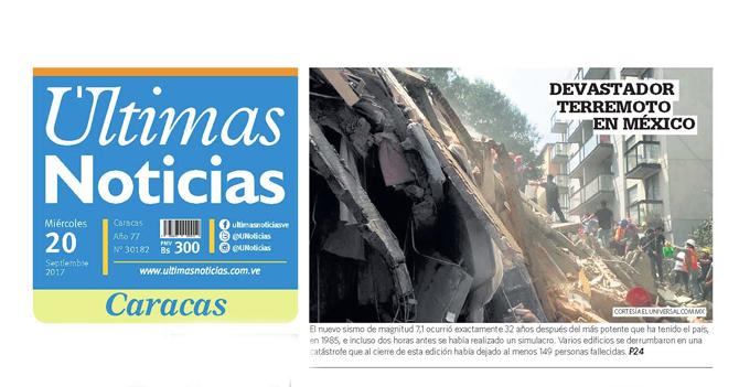 Terremoto hace que Últimas Noticias publique una noticia verdadera