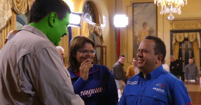 Maduro se pinta de verde para que candidatos del PSUV puedan eliminarlo fácilmente de las fotos