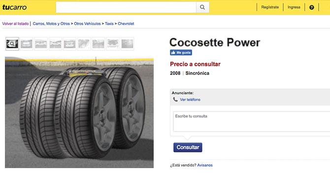 Joven le monta 4 cauchos a Cocosette y lo vende en tucarro.com