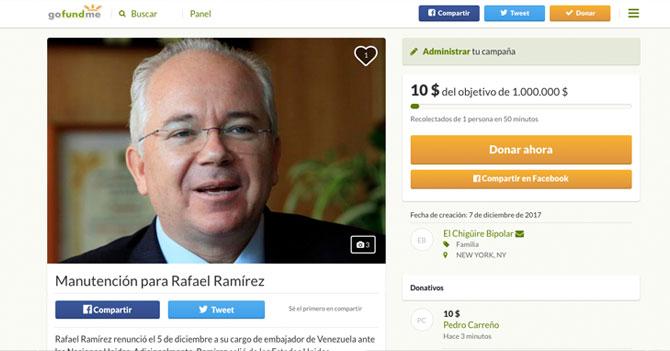 Colabora en el GoFundMe para Rafael Ramírez