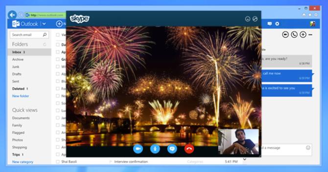 Fuegos artificiales aparecen por Skype