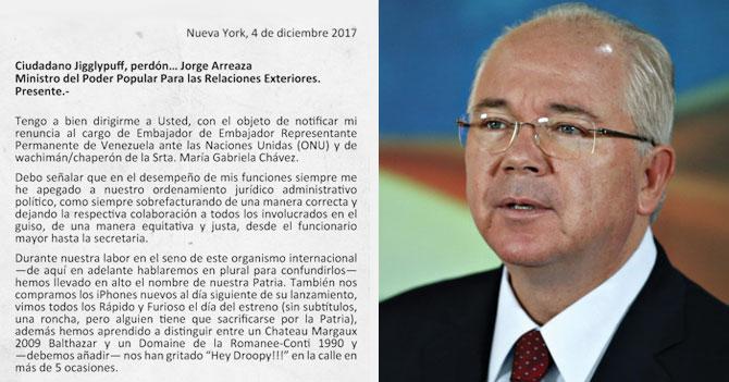 La verdadera carta de renuncia de Rafael Ramírez