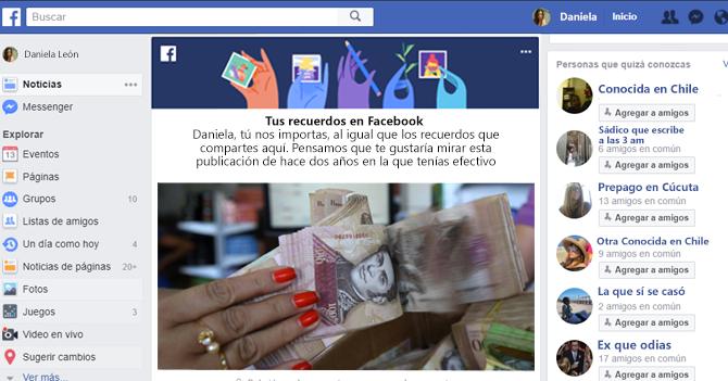 Facebook te recuerda que hace dos años tenías efectivo