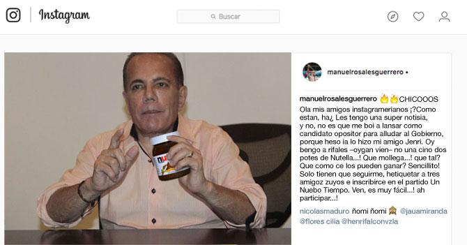 Manuel Rosales rifa potes de Nutella en Instagram e igual no aumenta popularidad