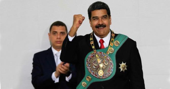 Maduro recibe cinturón de peso pluma de boxeo en la ANC