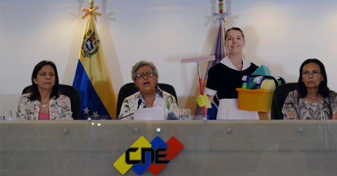 CNE contrata señora de servicio para asegurar que las elecciones sean limpias