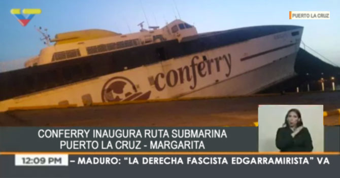 "VTV: ""Conferry inaugura ruta submarina Puerto La Cruz - Margarita"""