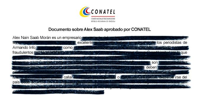 EN EXCLUSIVA: Documento sobre Alex Saab aprobado por CONATEL