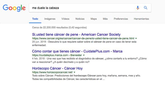 Google cumple 20 años diciéndote que eso que tienes es cáncer