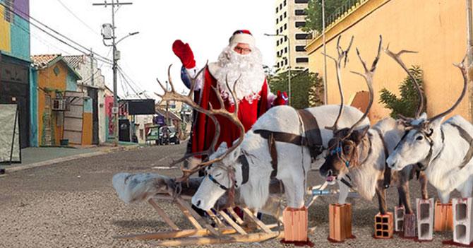 Malandros dejan a renos de Santa sobre 4 ladrillos