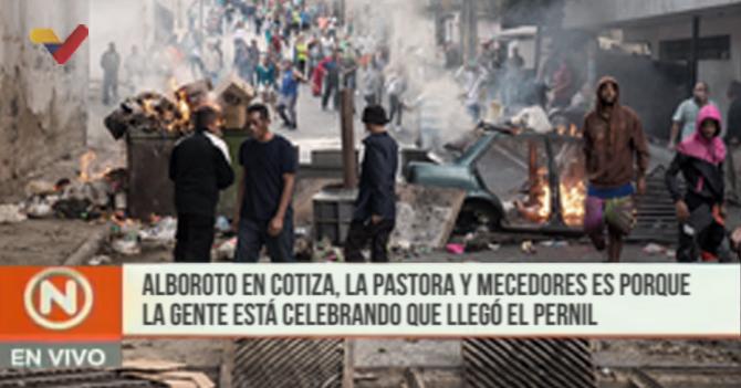 VTV: Alboroto en Cotiza, La Pastora y Mecedores es porque la gente está celebrando que llegó el pernil