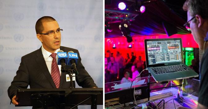 DJ pone discurso de Jorge Arreaza en la ONU para botar a la gente de la discoteca