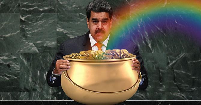 Maduro camina hasta fin del arcoiris para robarle el oro a los duendes