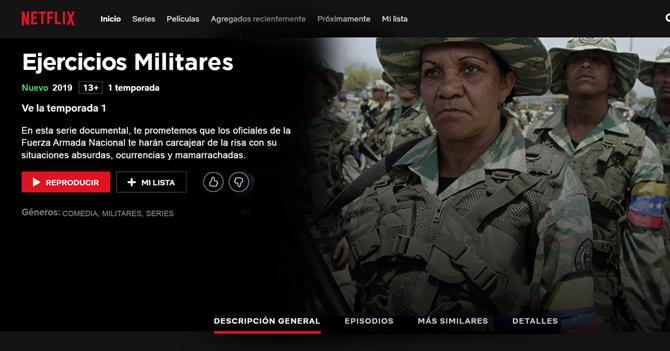 Netflix anuncia especial de comedia con ejercicios militares de la FANB