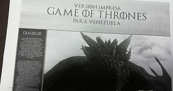 HBO lanza versión impresa de Game Of Thrones para Venezuela