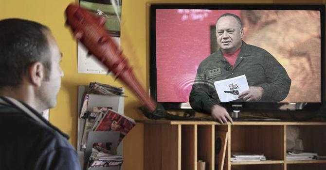 Mazo de Diosdado se sale del televisor y golpea a televidente