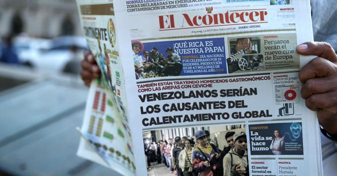 Medio peruano asegura que cambio climático es causado por venezolanos
