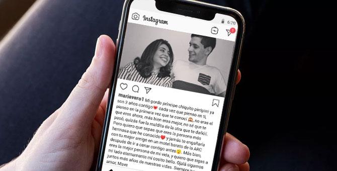 Párrafo cursi en Instagram no logra ocultar que relación se está cayendo a pedazos